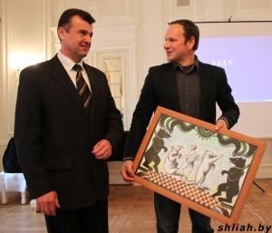 Заместитель председателя Сморгонского райисполкома Геннадий Бычко и директор Тракайского национального парка Гинтарас Абаравичюс
